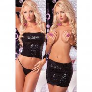 Юбка - топ с пайетками, Sequin tube top or skirt black,  PL7221004BLK