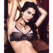 Бюстгальтер Pink-Black Underwire Bra With Lace, B1032