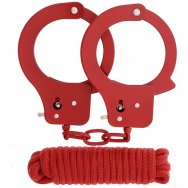 Бондажный набор BONDX METAL CUFFS&LOVE ROPE SET-RED